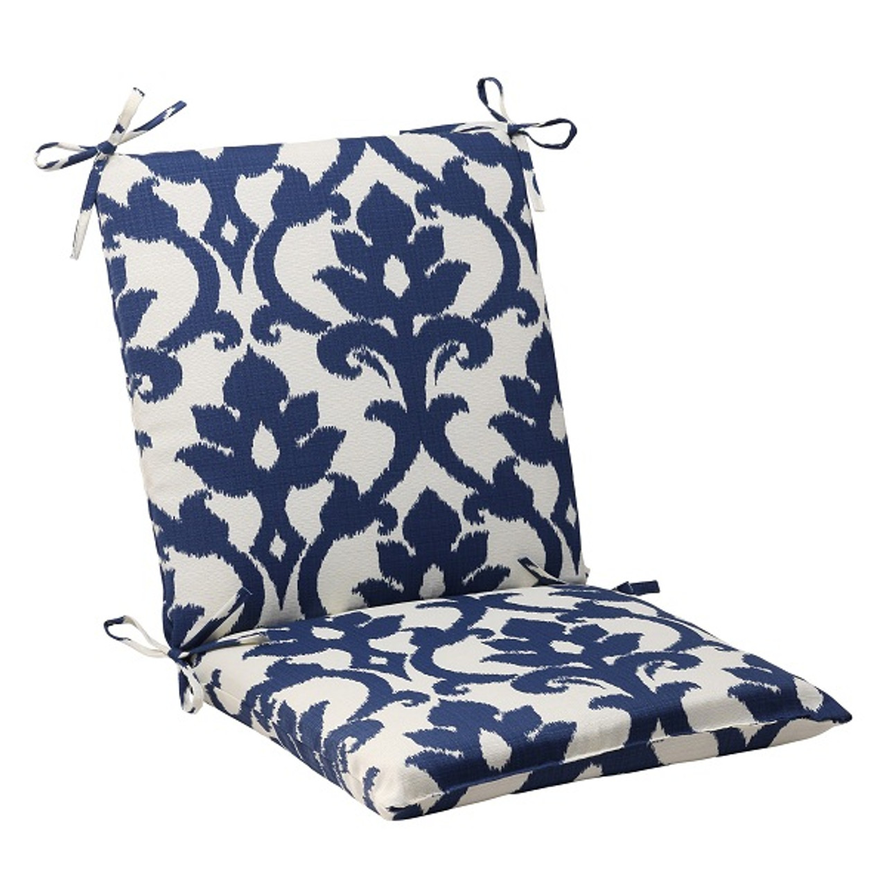 navy blue patio chair cushions reading chairs for sale 36 5 quot and white victorian floral outdoor