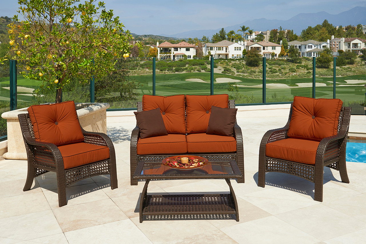 4-piece Chelsea Cappuccino Resin Wicker Patio Loveseat