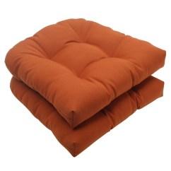 Orange Wicker Chair Cushions Diy Hammock Stand Plans Set Of 2 Cinnamon Burnt Outdoor Patio Tufted