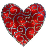 """12"""" Lighted Valentine's Day Shimmering Heart Window ..."""