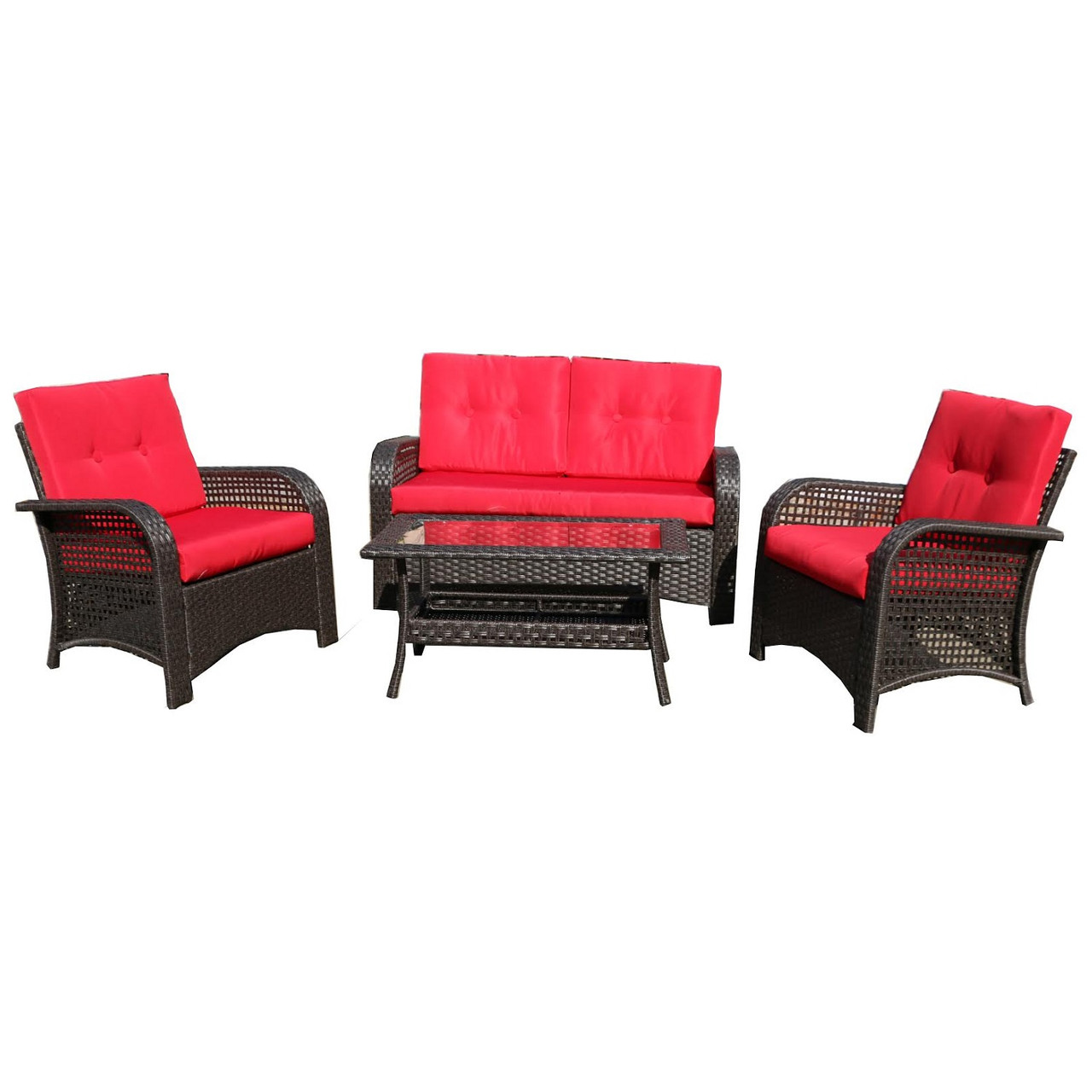 Red Patio Chairs 4 Piece Brown Resin Wicker Outdoor Patio Furniture Set