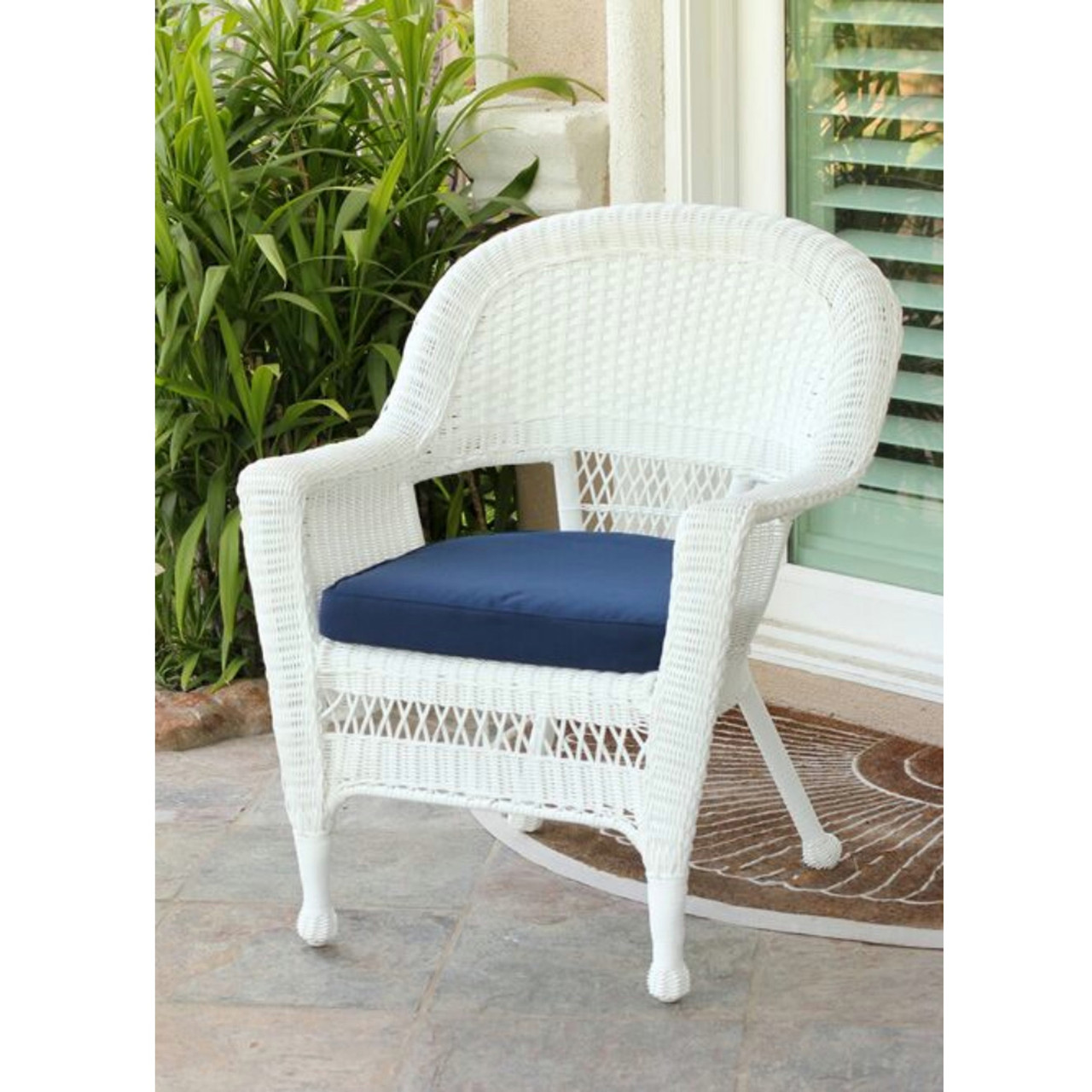 white resin wicker chairs baby bean bag chair argos 36 outdoor patio garden with blue cushion cc living