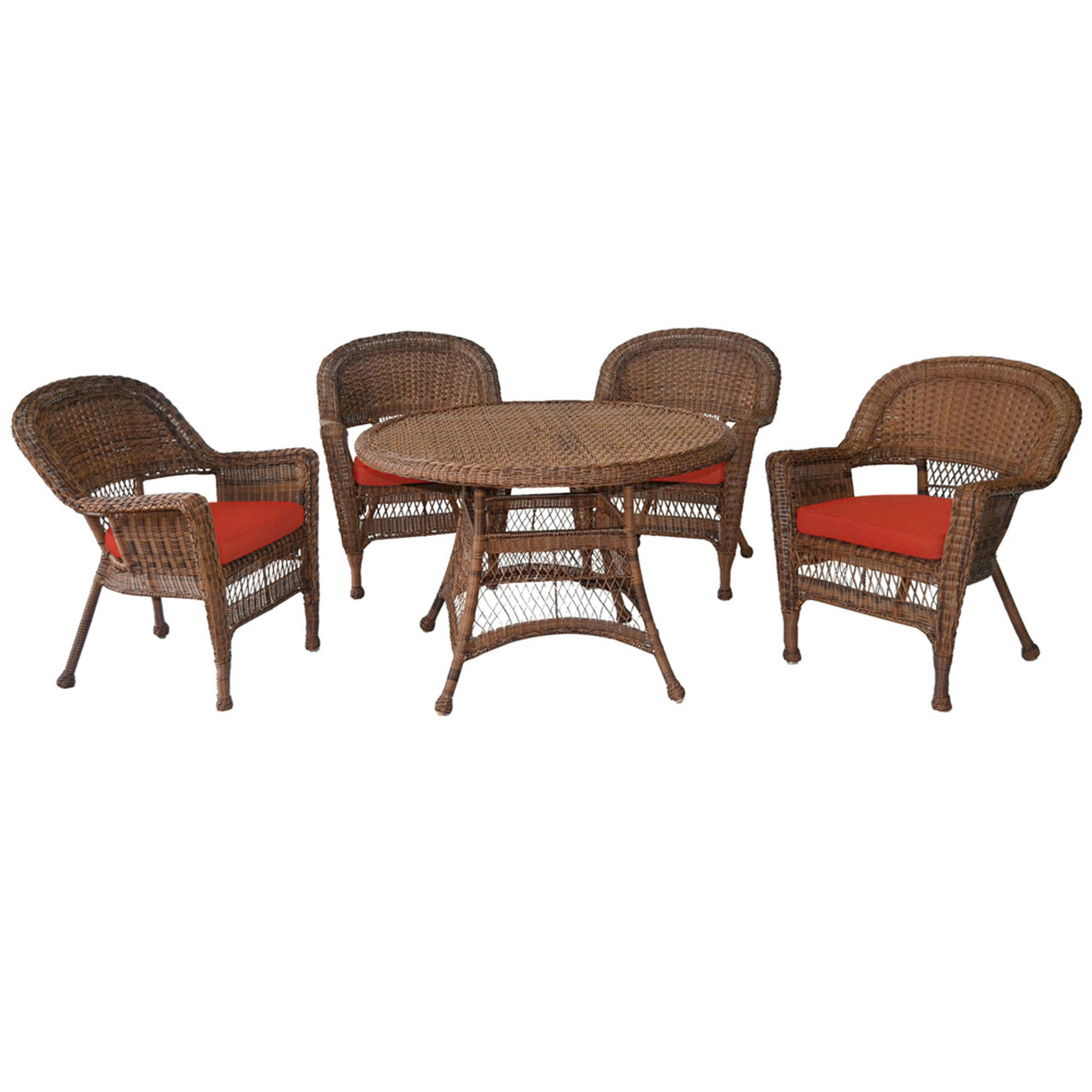 5-piece Honey Resin Wicker Chair & Table Patio Dining