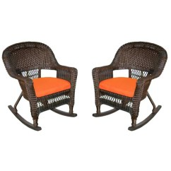Orange Outdoor Chairs Does Chair Gym Really Work Set Of 2 Espresso Brown Resin Wicker Patio Rocker