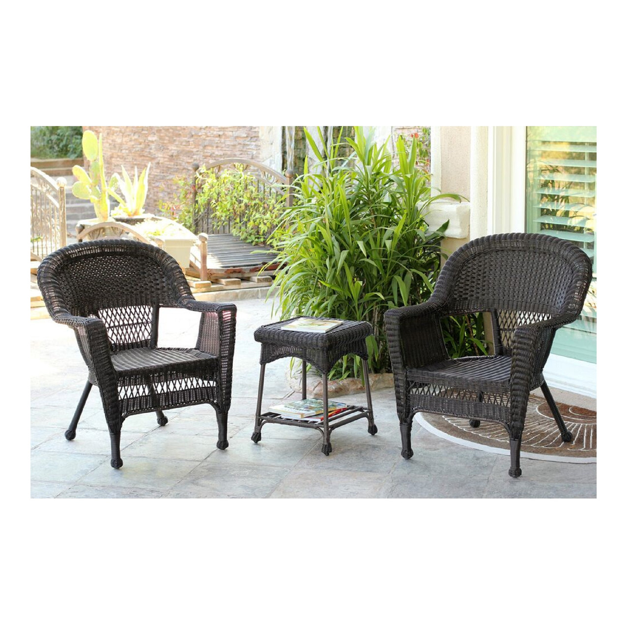 3-piece Espresso Brown Resin Wicker Patio Chairs & End