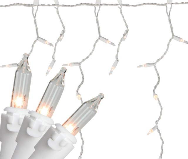 Set Of  Clear White Mini Window Curtain Icicle Christmas Lights White Wire
