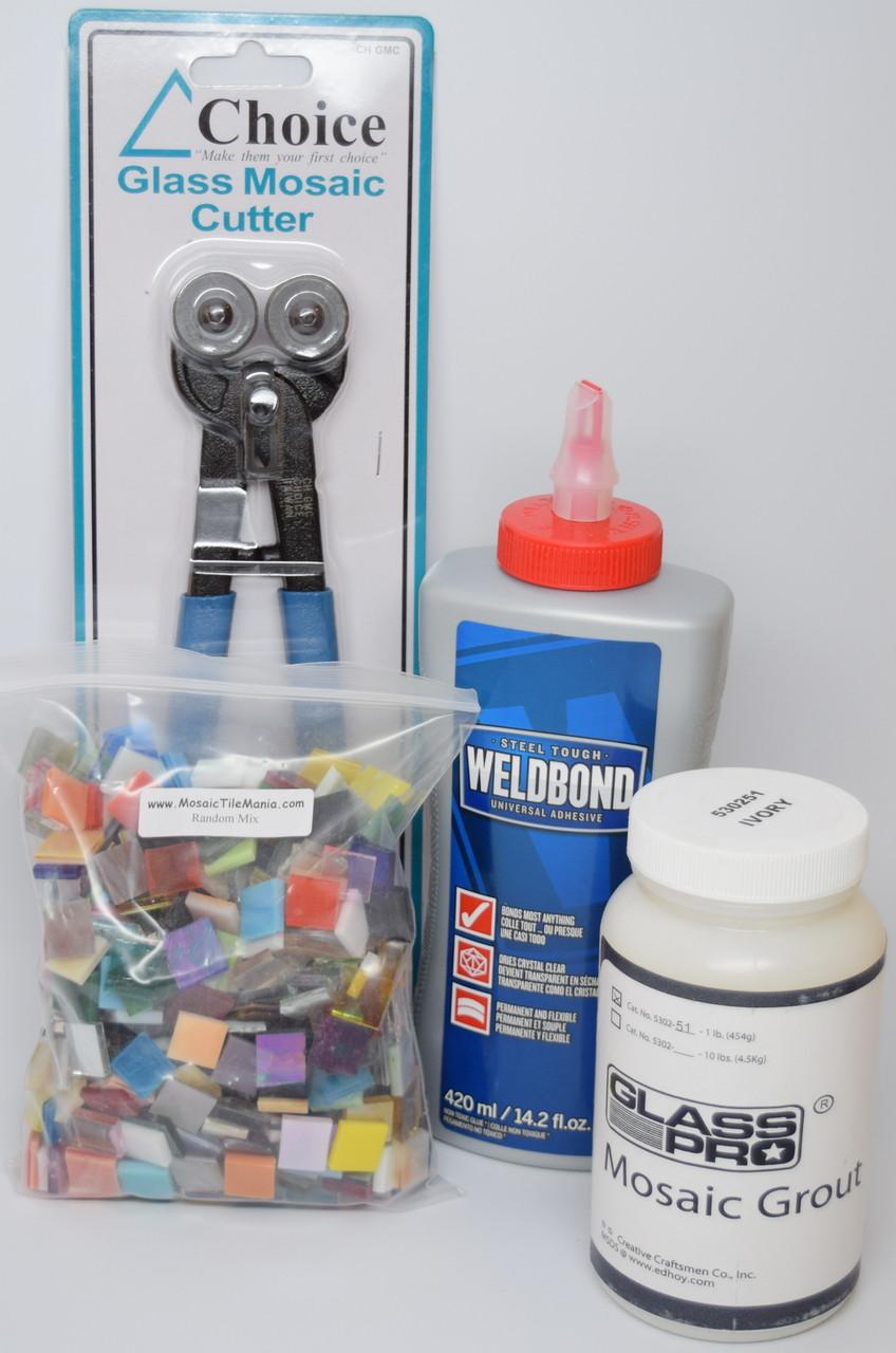 Mosaic Tile Art Starter Kit: Weldbond Glue, Nippers, Grout