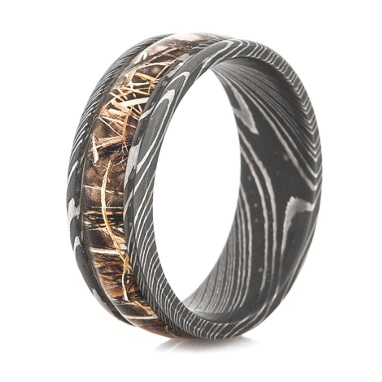 Mens Damascus Steel Realtree Camo Ring Titanium Buzz