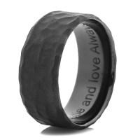 Men's Hammered Flat Black Wedding Band - Titanium-Buzz
