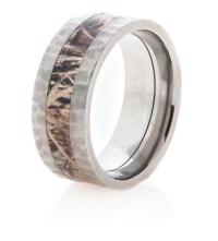 Men's Hammered Titanium Camo Ring - Titanium-Buzz