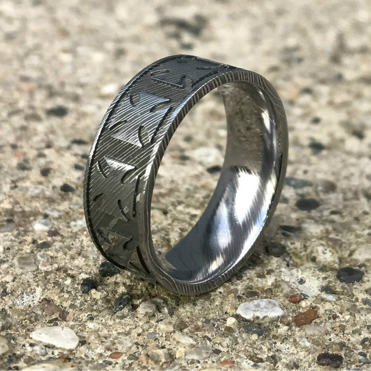 Mens Damascus Steel Maltese Cross Ring Unique Titanium