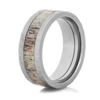 Hammered Titanium Antler Inlay Ring - Titanium-Buzz