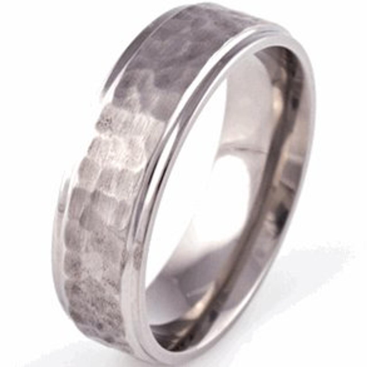 Grooved Edge Flat Profile Titanium Hammered Ring Unique