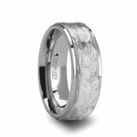 Men's Hammered White Tungsten Ring - Titanium Buzz
