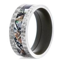 Men's Titanium Hammered Camo Ring with Green Interior ...