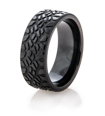 Mens Black Goodyear Mud Tire Ring Titanium Buzz