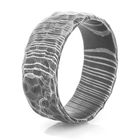 Mens Rock Style Acid Finish Damascus Steel Ring Unique