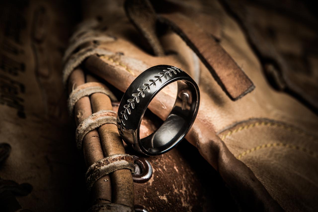 Mens Black Baseball Ring Titanium Buzz