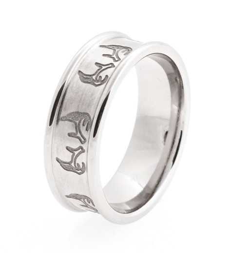 Mens Laser Carved Titanium Antler Ring Titanium Buzz
