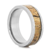 Men's Hammered Titanium and Spalted Tamarind Wood Ring