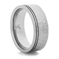 Hammered Titanium Ring with Offset Grooves - Titanium-Buzz