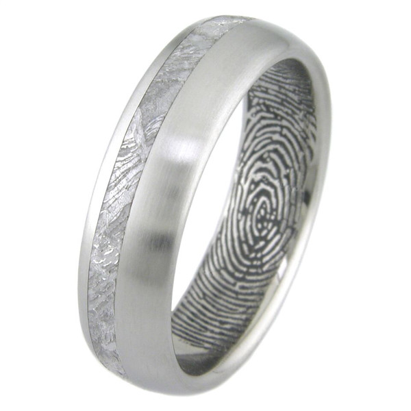 Mens Titanium Meteorite Ring With Personalized Inner
