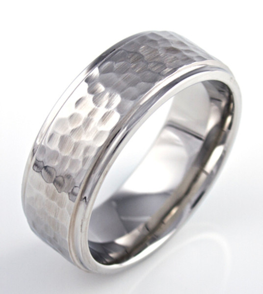 Hammered Wedding Band Unique Titanium Rings Amp More
