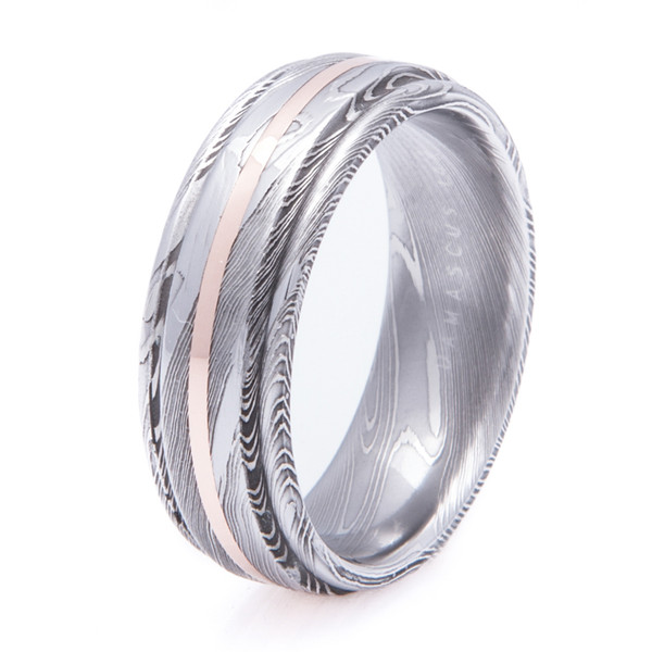 Flat Grooved Damascus Ring With 14K Gold Inlay Titanium Buzz