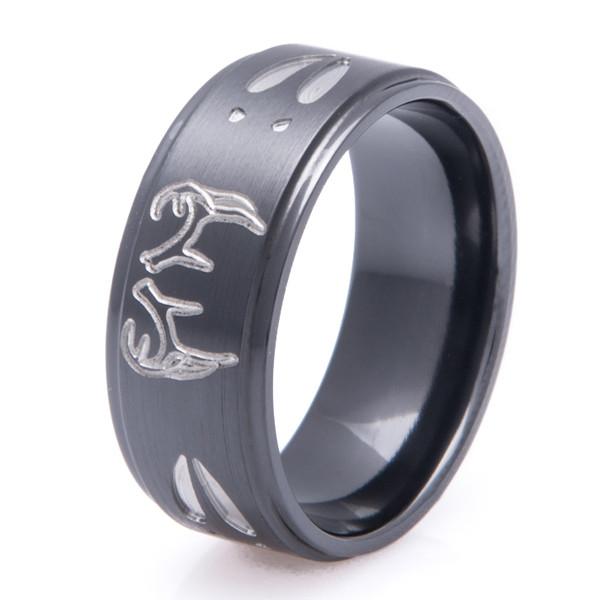 Step Down Two Tone Buck Ring Unique Titanium Rings