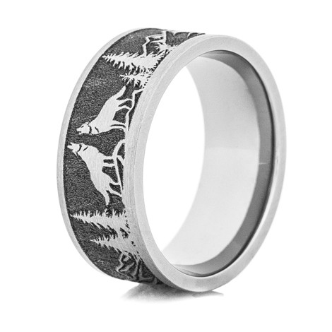 Mens Laser Carved Titanium Wolf Ring Titanium Buzz