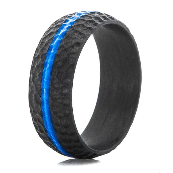 Carbon Fiber Defender Ring With Blue Inlay Titanium Buzz