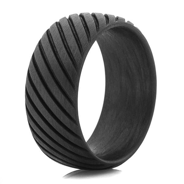 Mens Rope Style Carbon Fiber Ring Titanium Buzz