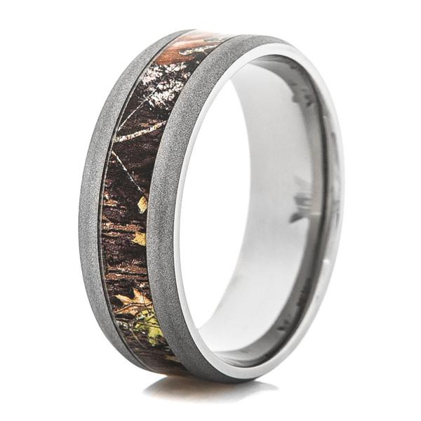 Sandblasted Titanium Mossy Oak Camo Ring Titanium Buzz