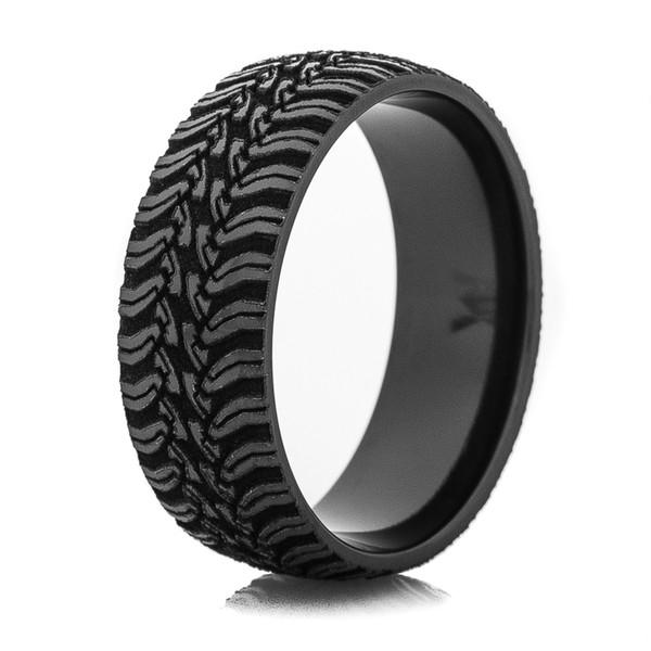 Mens LaserCarved Black Tread Ring  TitaniumBuzz