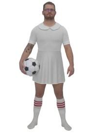 Mens White Football Dress Costume Funny Soccer Fancy Dress