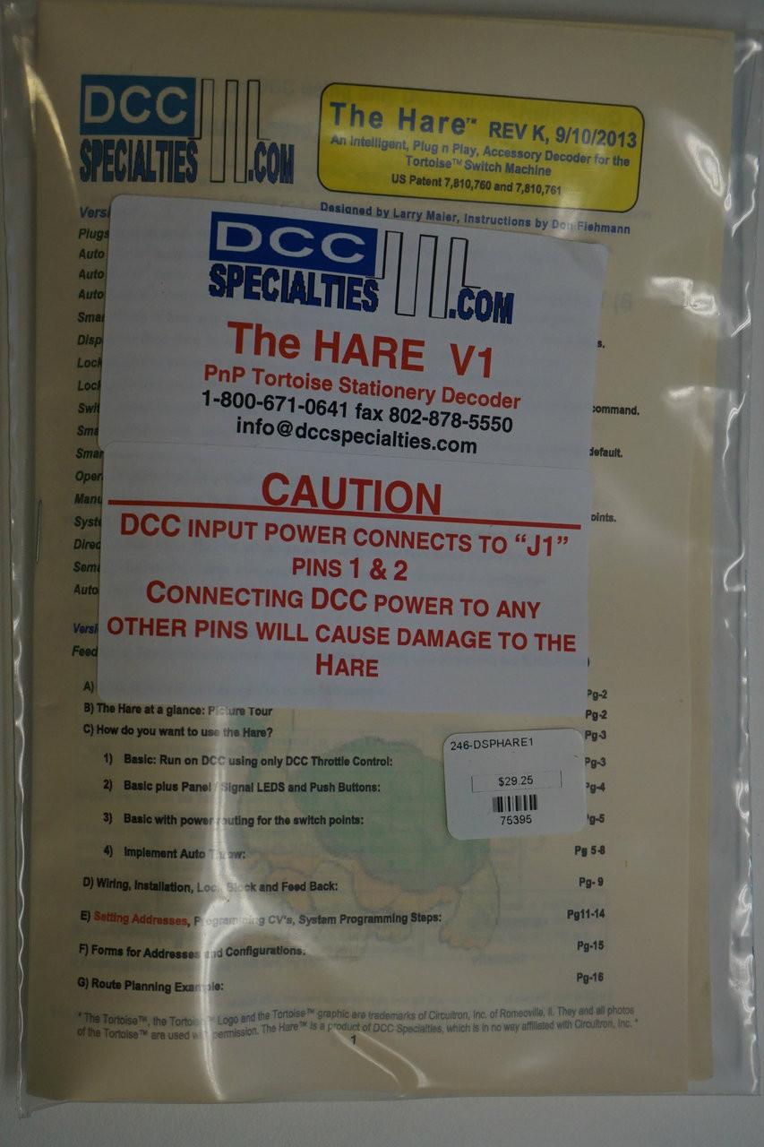 medium resolution of dcc specialties 246 harev1 the hare plug play stationary dcc decoder