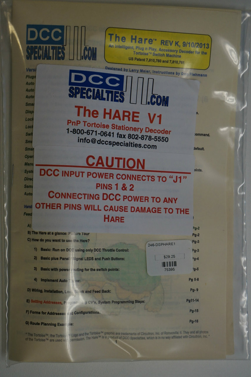 hight resolution of dcc specialties 246 harev1 the hare plug play stationary dcc decoder