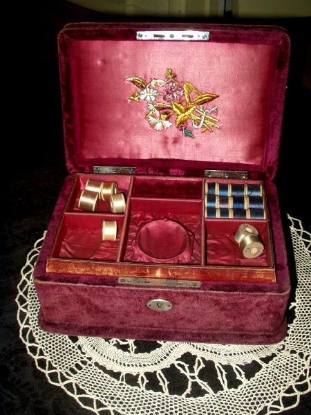 19th Century Victorian Engraved Plush Velvet Sewing Box