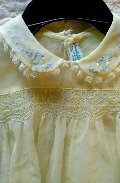 Vintage 1940s Baby Dress Slip Organdy Hand Made Philippines  The Gatherings Antique Vintage