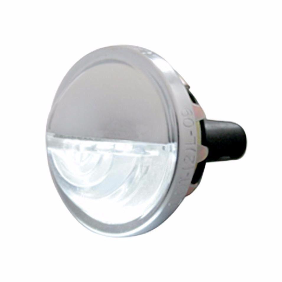4 LED White License Plate Light  Round Metal Housing