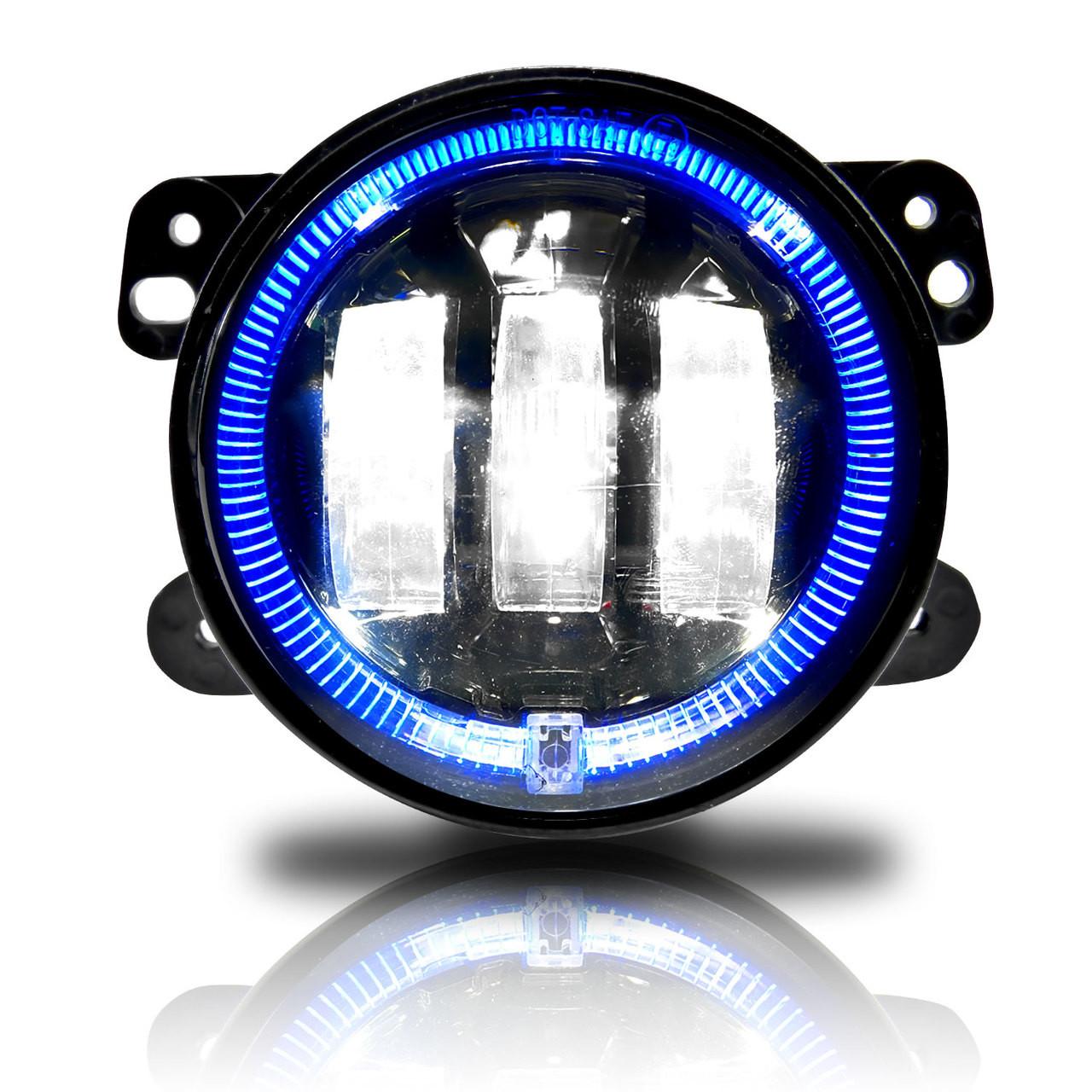 4 inch led blue halo fog lamp lights for jeep wrangler jk [ 1280 x 1280 Pixel ]