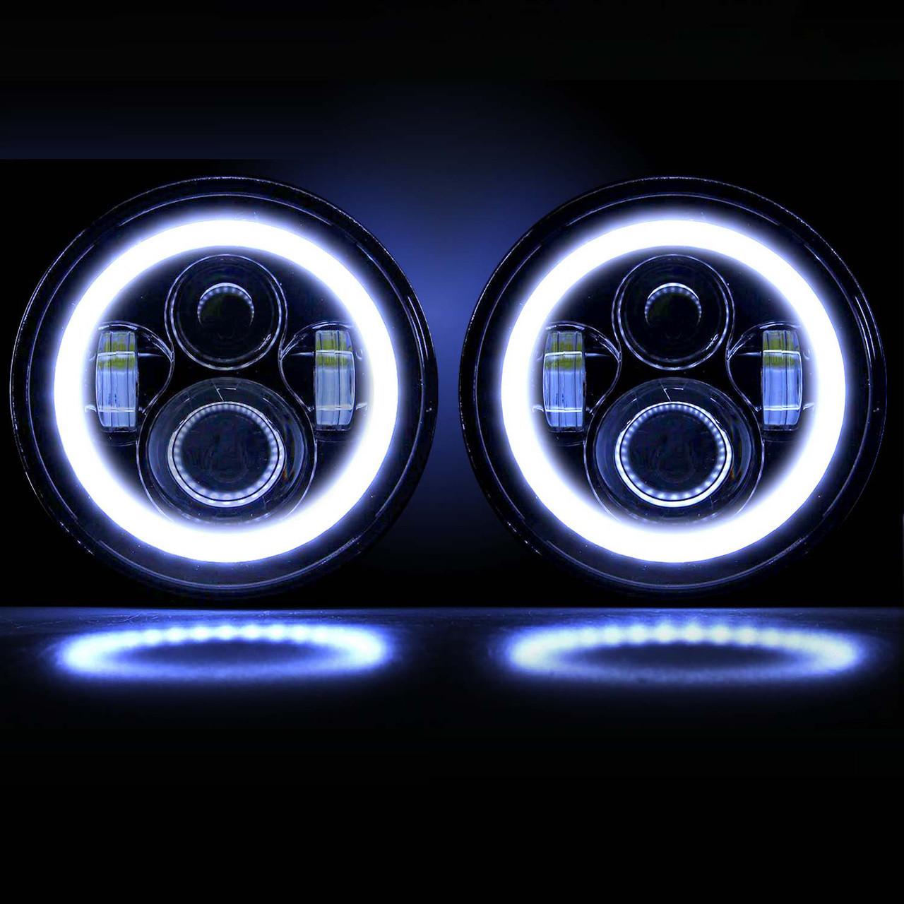 7 Inch Halo Projector Black LED Headlights Set  GENSSI