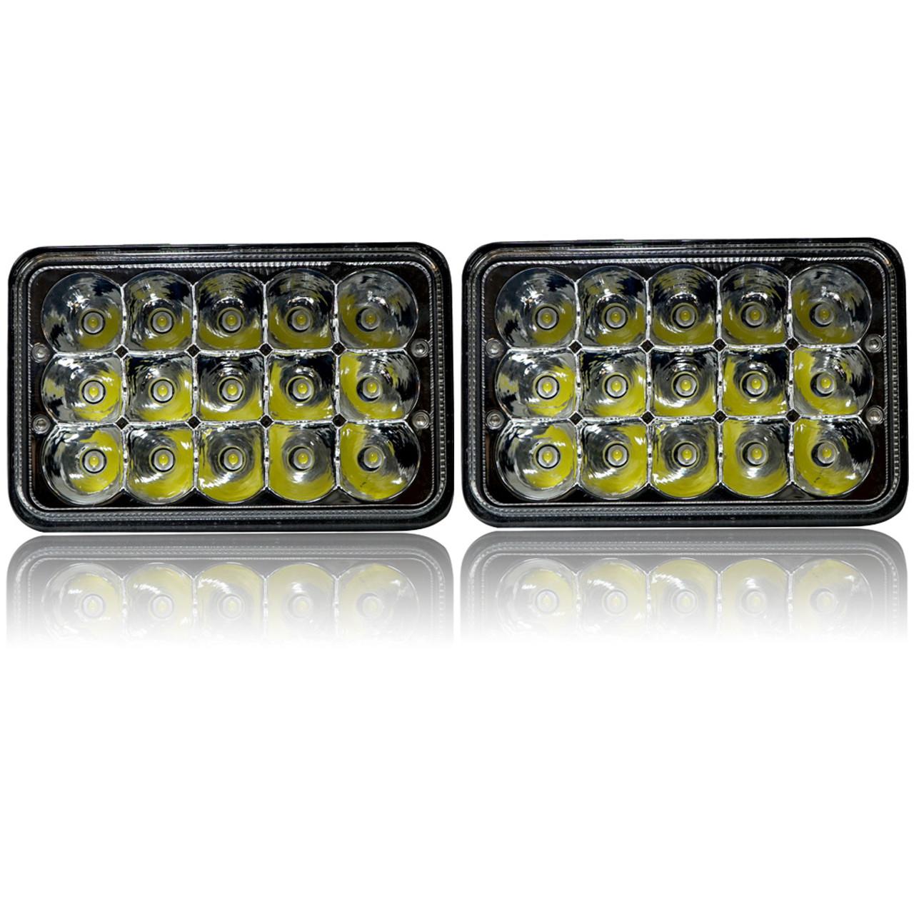 4x6 led array headlights h4651 h4652 h4656 h4666 h6545 chrome set [ 1001 x 1001 Pixel ]