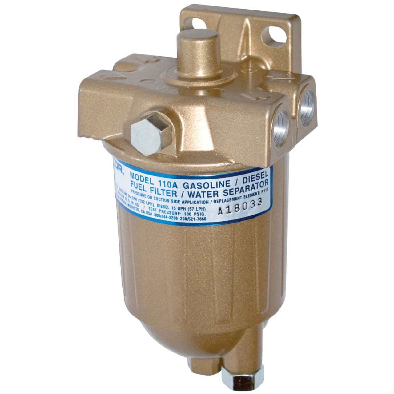 hight resolution of racor 110a series low flow fuel filter water separator filter assembly 10 micron