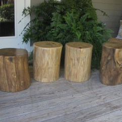 Tree Stump Chairs Red Chaise Lounge Chair Garden Seating Patio Side Table