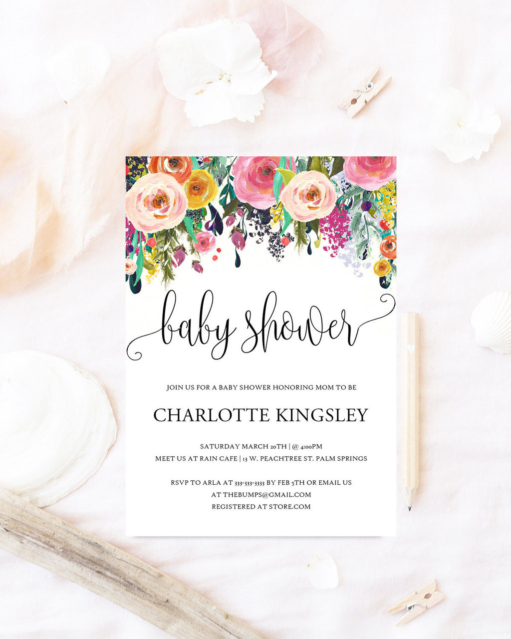 Floral baby shower invitationwatercolor flowers