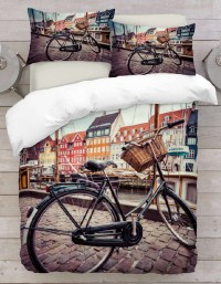 3D Duvet Cover Road Bicycle Bedding Set - Linen Mill