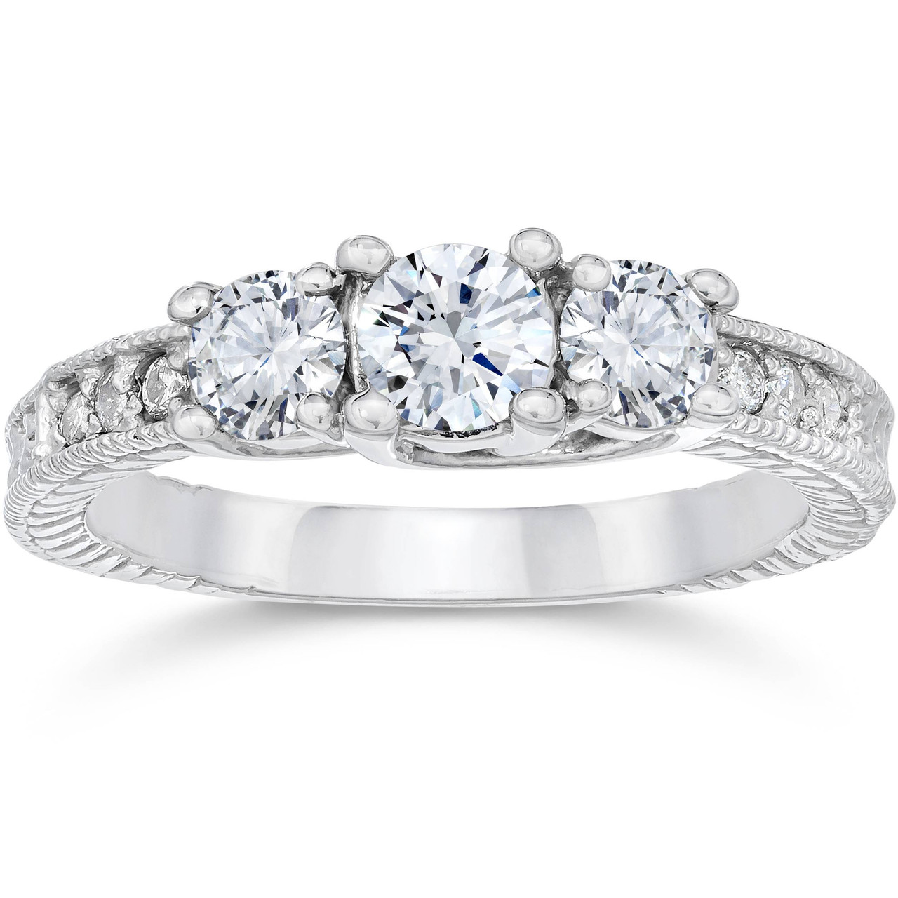 1 Carat Vintage 3Stone Diamond Engagement Anniversary