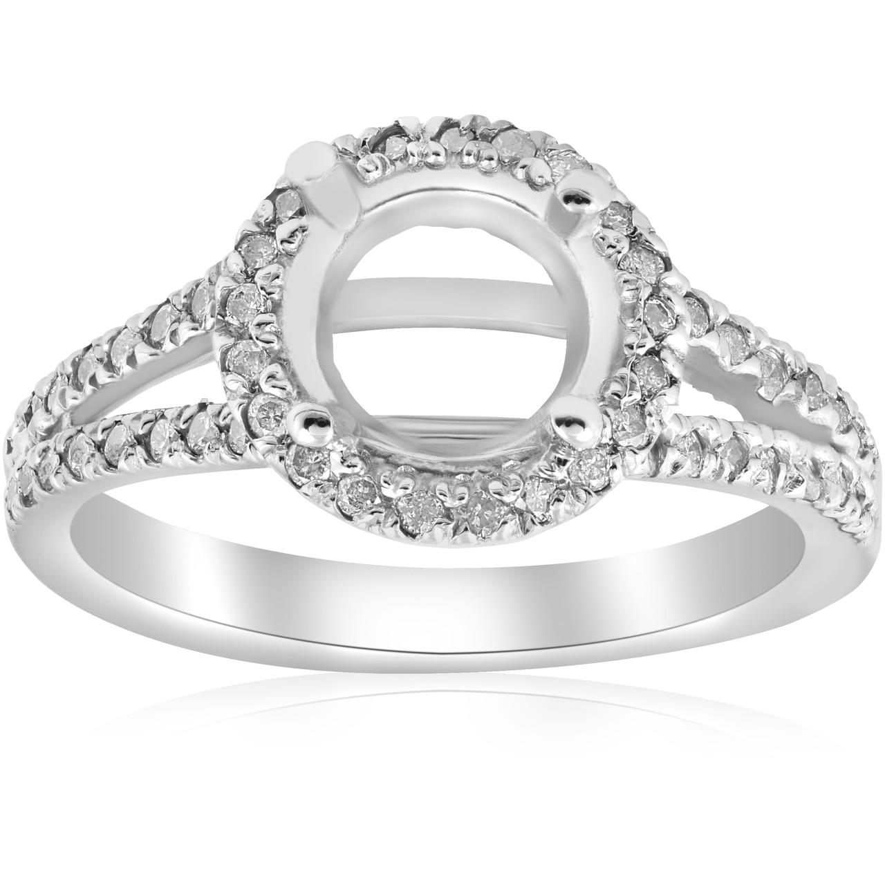 1/2ct Halo Split Shank Diamond Engagement Ring Setting 14k