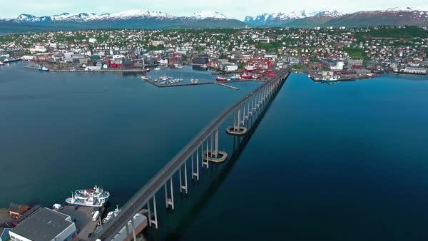 aerial footage from bridge